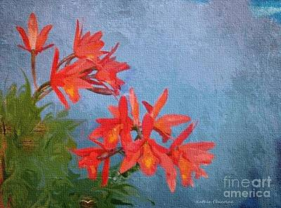 Digital Art - Orange Orchids by Kathie Chicoine