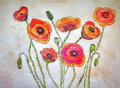 Painting - Orange Oriental Poppies by Anne Sands