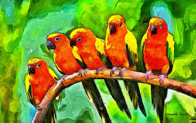 Parakeet Painting - Orange Parrots - Pa by Leonardo Digenio