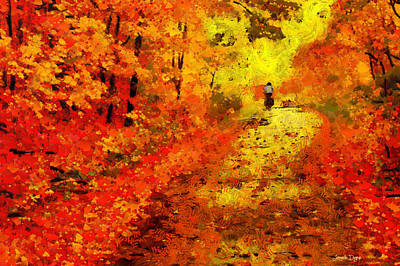 September Painting - Orange Path - Da by Leonardo Digenio
