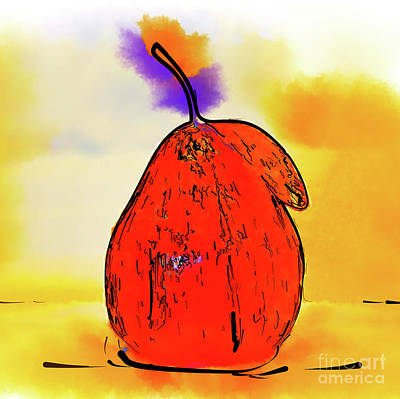 Digital Art - Orange Pear Watercolor by Kirt Tisdale