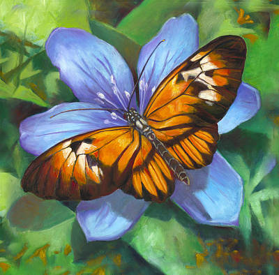 Piano Painting - Orange Piano Key Butterfly by Nancy Tilles