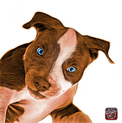 Painting - Orange Pitbull Dog Art 7435 - Wb by James Ahn
