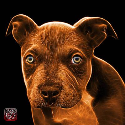 Painting - Orange Pitbull Puppy Pop Art - 7085 Bb by James Ahn