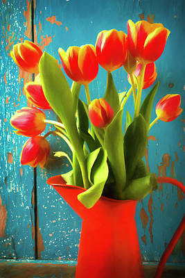Water Pitcher Photograph - Orange Pitcher With Tulips by Garry Gay