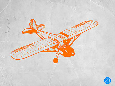 Transportation Wall Art - Painting - Orange Plane 2 by Naxart Studio