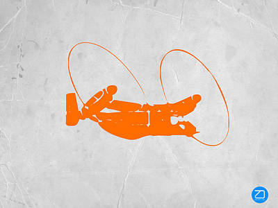 Helicopter Digital Art - Orange Plane by Naxart Studio