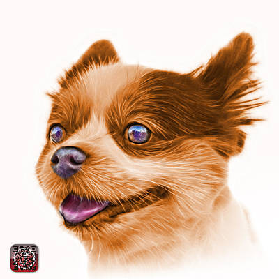 Painting - Orange Pomeranian Dog Art 4584 - Wb by James Ahn