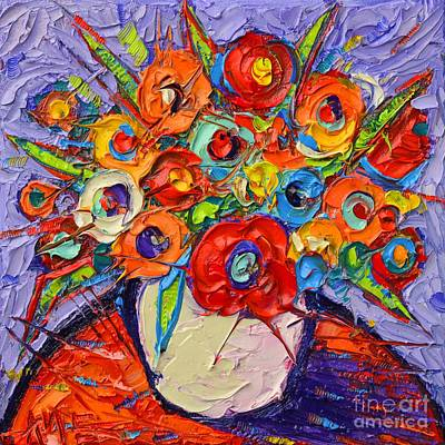 Bouquets Of Pink Flowers Green Blue Painting - Orange Poppies And Wildflowers Modern Impressionist Impasto Knife Oil Painting Ana Maria Edulescu    by Ana Maria Edulescu