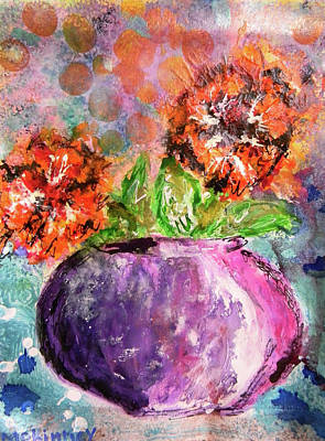 Art Print featuring the mixed media Orange Poppies by Lisa McKinney