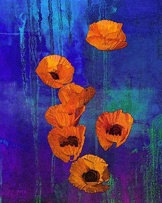Mixed Media - Orange Poppies by I'ina Van Lawick