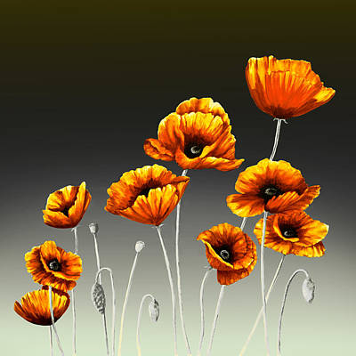 Impressionist Landscapes - Orange Poppies on Black and Gray by Lynne Albright