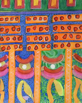 Orange Posts In Mysterious Night Light  Original by Heidi Capitaine