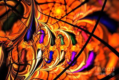 Digital Art - Orange Purple Webs by Kim Sy Ok