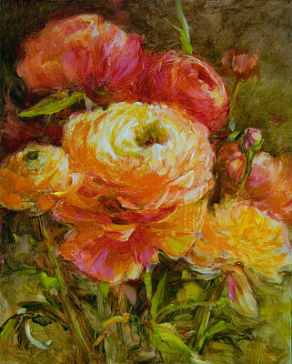 Ranunculus Painting - Orange Ranunculus by Tracie Thompson