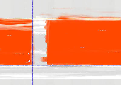 Brush Painting - Orange Rectangle by Naxart Studio