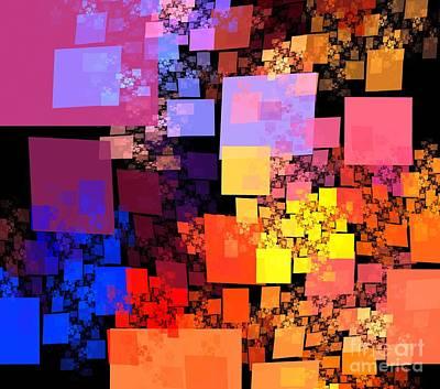 Digital Art - Orange Red Cubes by Kim Sy Ok
