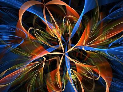 Digital Art - Orange Ribbons by Nancy Pauling