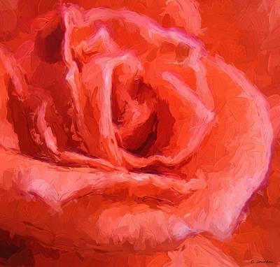 Painting - Orange Rose 1 by Cathy Jourdan