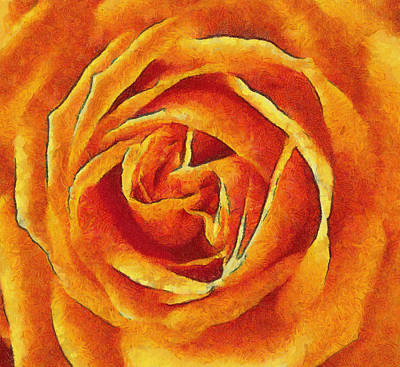 Painting - Orange Rose Art - Floral Painting by Wall Art Prints