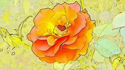Flower Digital Art - Orange Rose by Kumiko Izumi