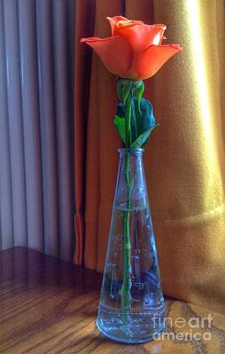 Photograph - Orange Rose On Table by Joan-Violet Stretch