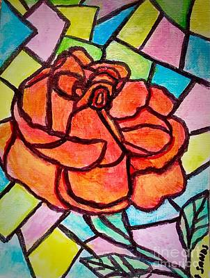 Painting - Orange Rose Stained Glass Effect by Anne Sands