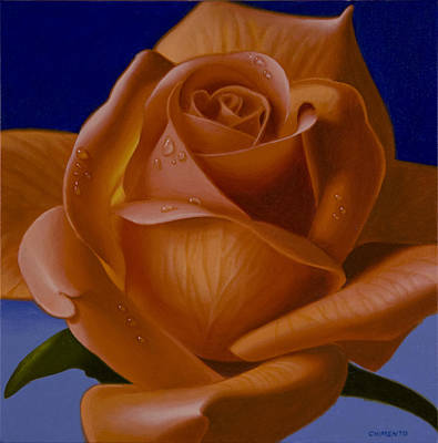 Single Flower Painting - Orange Rose With Blue Background by Tony Chimento