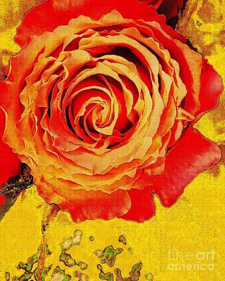 Digital Art - The Orange Rose by Wonju Hulse