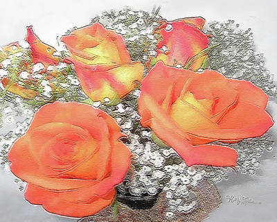 Photograph - Orange Roses #067 by Barbara Tristan