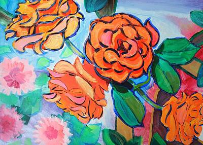 Painting - Orange Roses - Iridescent Blooms by Mike Jory