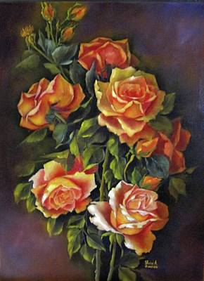 Painting - Orange Roses by Katia Aho