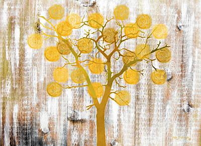 Tangerines Mixed Media - Orange Rustic Tree Art by Ken Figurski