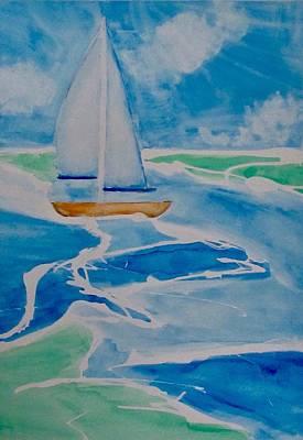 Animal Watercolors Juan Bosco - Orange Sailboat  by Jennifer Whitworth