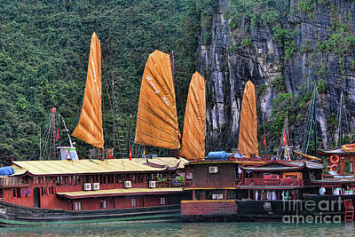Photograph - Orange Sails Boats Dock Ha Long Bay Vietnam  by Chuck Kuhn