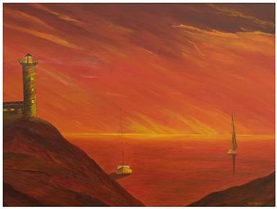 Wall Art - Painting - Orange Sea by Carl Taylor
