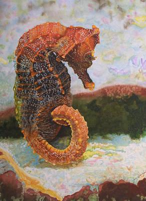 Orange Sea Horse At Rest. Art Print by Jan  Spangler