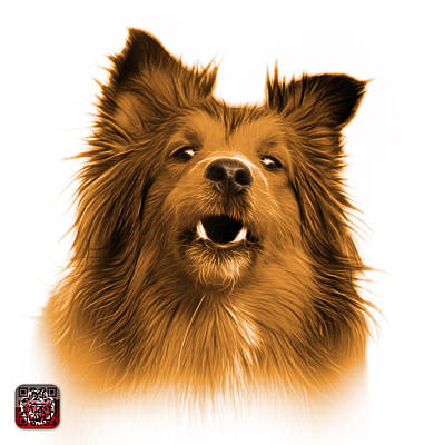 Painting - Orange Sheltie Dog Art 0207 - Wb by James Ahn