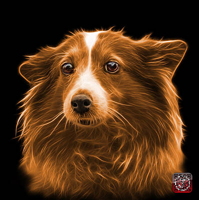 Mixed Media - Orange Shetland Sheepdog Dog Art 9973 - Bb by James Ahn