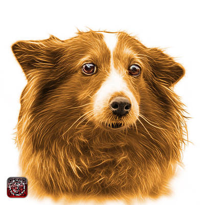 Mixed Media - Orange Shetland Sheepdog Dog Art 9973 - Wb by James Ahn