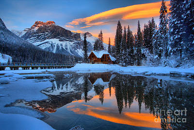 Photograph - Orange Skies Over Emerald Lake by Adam Jewell