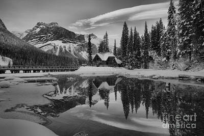Photograph - Orange Skies Over Emerald Lake Black And White by Adam Jewell
