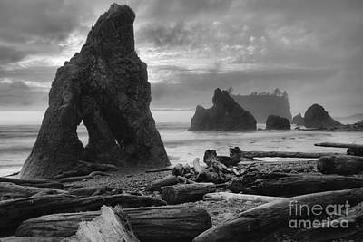 Photograph - Orange Skies Over Ruby Beach Black And White by Adam Jewell
