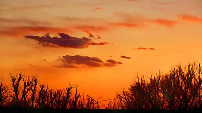 Orange Sky At Night Art Print