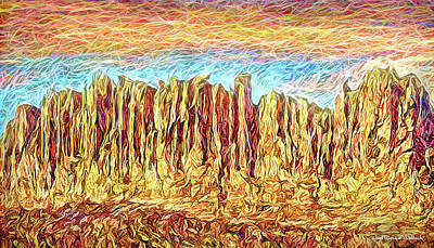 Digital Art - Orange Sky Cliffs - Colorado by Joel Bruce Wallach