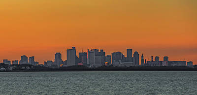 Photograph - Orange Sky During Sunset With The Boston Skyline by Brian MacLean