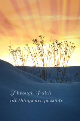 Positive Attitude Photograph - Orange Sky With Rays And Blue Dunes Faith by Elaine Plesser