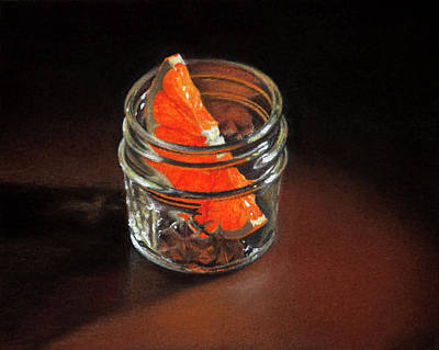 Pastel - Orange Slice In A Glass Jar by Rebecca Giles