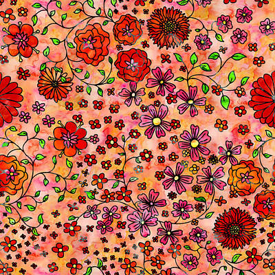 Painting - Orange Small Flowers by Aloke Creative Store