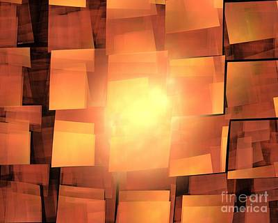 Digital Art - Orange Solar Cubea by Kim Sy Ok